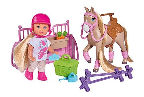 Simba 105733274 - Evi Love Ferienspaß Pferdehof/ mit Pferd und Hindernissen / Putzplatz und Zubehör / Ankleidepuppe/ 12cm, für Kinder ab 3 Jahren