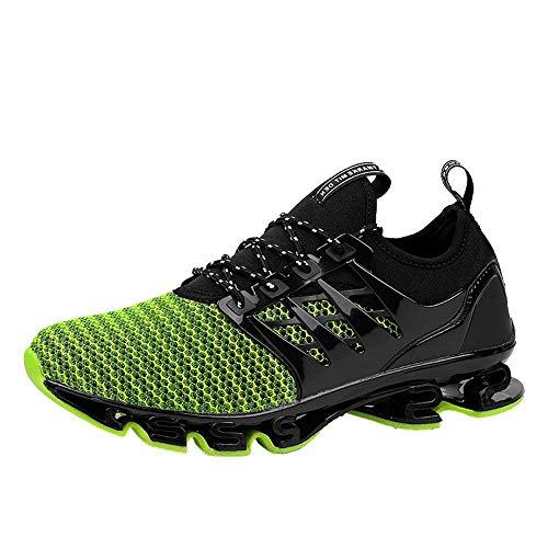 Zapatillas Deporte Hombre Zapatos para Correr Athletic Cordones Hombre Aire Libre y Deporte Transpirables Casual Zapatos Gimnasio Correr Sneakers(dwwb.Verde,42 EU)