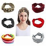 PHENHU 6 paquetes de diademas para mujer,elástica,estilo boho, diademas elásticas,bandas para el cabello(Color C)