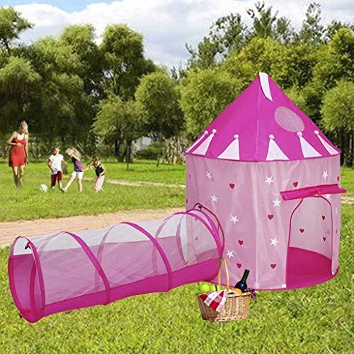 Kids Play Tent met Tunnel, Binnen/Buiten Kasteel van de Prinses Tent voor Girl, Toy House Set voor Verjaardag Noctilucent kinderen Playhouse-Pink
