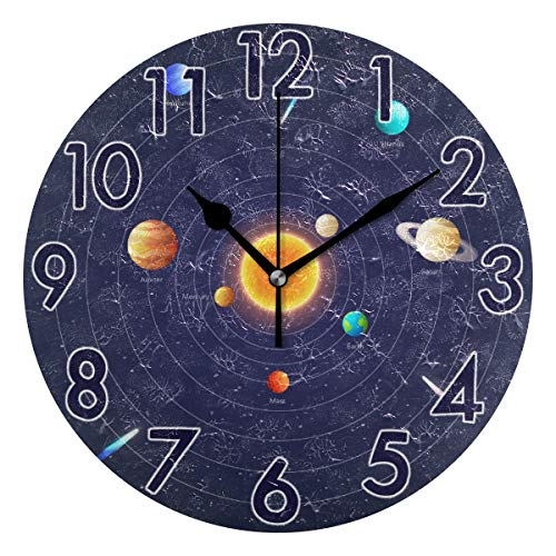Chic Houses Space Science Clock Solar System Planet Bathroom Kitchen Wall Clock for Girl Boy Non Ticking Quiet Easy to Read for Bedroom Decor 9.5 Inch Round Clock 2031338