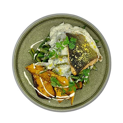 Season Family Fertiggericht Lachsfilet mit Süßkartoffeln und Joghurt-Dillsauce als Fitness Essen I Fertiggerichte für Mikrowelle oder Pfanne unter Schutzgasatmosphäre verpackt I Inhalt 450 g