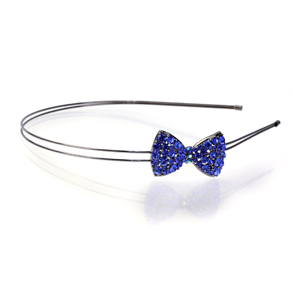 DoubleAccent Hair Jewelry Simulated Crystal Bow Headband, Blue
