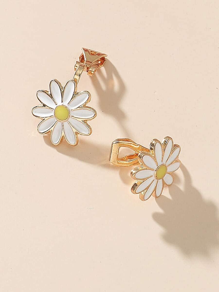 Hoop Earrings 2pcs Flower Decor Ear Cuff (Color : White, Size : OneSize)