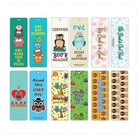 Creanoso Inspirational Book Reading Sayings Owl Bookmarker (60-Pack) – Six Assorted Quality Owl Themed Bookmarks Bulk Set – Premium Gift for Kids, Teens, Young Book Readers