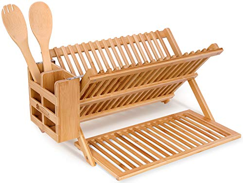 Toydoooco Dish Drying Rack Bamboo Kitchen Collapsible 3 Tier Drainer Rack with Utensils Flatware Holder