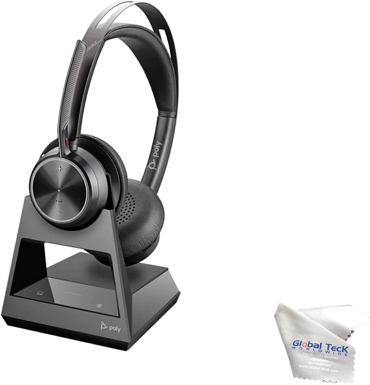 GTW Poly Voyager Focus 2 Office, Stereo Bluetooth Headset, USB-A for Certified for Teams, Connects to Deskphone, PC/Mac, Smartphone - Works with Zoom, RingCentral, 8x8, Vonage, Bonus Microfiber