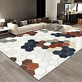 Moderno Alfombra De Salón Antideslizante Alfombra Cuadrado de Mosaico Multicolor Simple para El Dormitorio Decoración del Hogar 120 x 160 cm (3.9ft x 5.2ft)