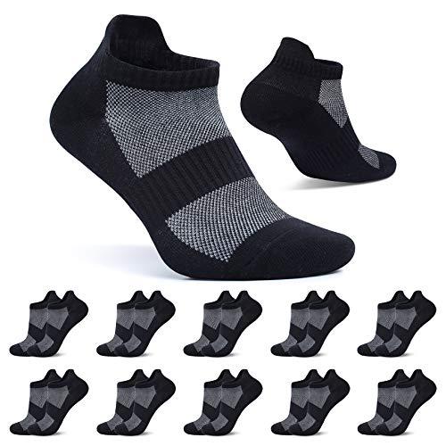 FALARY Sneaker Socken Herren 43-46 Sportsocken Schwarz 10 Paar Kurze Socken Damen Baumwolle Atmungsaktive Laufsocken Unisex