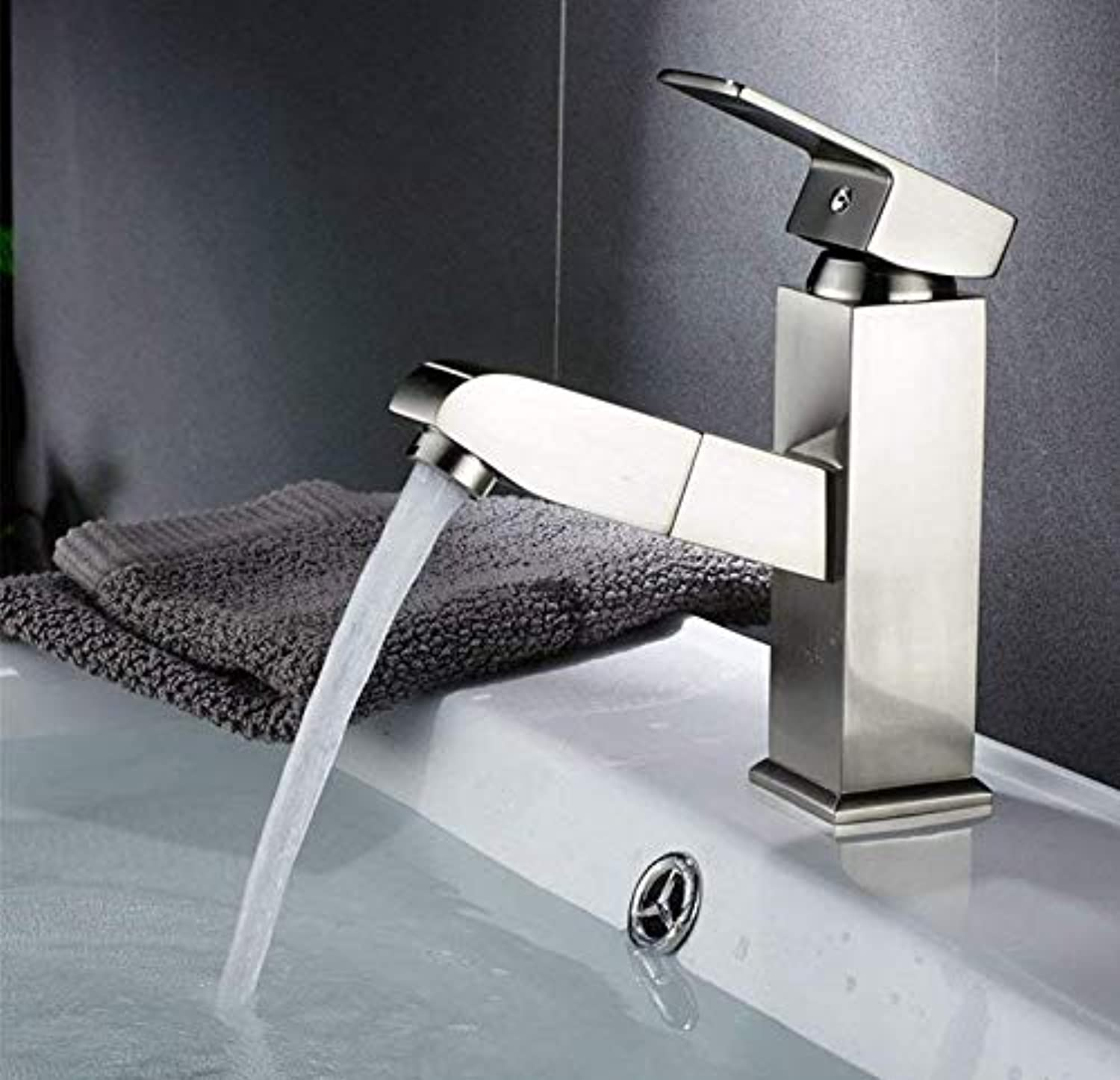 Kitchen fauct Shampoo, Basin, Faucet, Pull, Copper, Cold, Hot Water Faucet, Washroom, Bathroom, Telescopic Faucet Cabinet, Single Hole, Right Angle Wire Drawing. (color   -, Size   -)