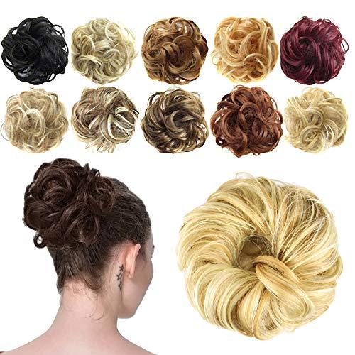 Preisvergleich Produktbild Feshfen Haargummi-Haarteil,  für Haarknoten / Pferdeschwanz,  Haarverlängerung,  gewellt,  unordentlicher Haarknoten,  Dutt,  Hochfrisur,  Haarteil,  A31 Strawberry Blonde & Bleach Blonde 27H613