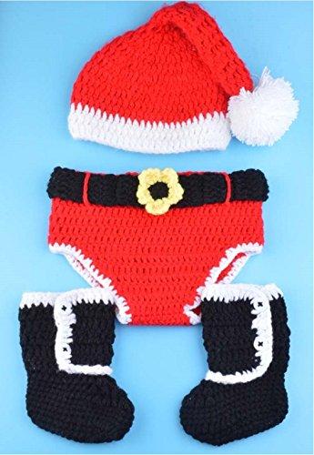 Happy little sheep Costume de Noël en Crochet tricoté à la Main pour Nouveau-né Motif Mouton Inscription Rouge, Laine, Black,White,Red,çºè‰²ï¼œé»'色<ç½è‰², 80x50cm