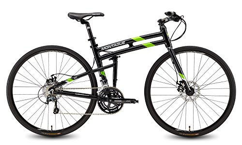 Montague FIT Folding 700c Pavement Hybrid Bike 30-speed road bike with disc brakes and a carbon fork, Gloss Black/Green 21' New Model