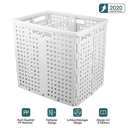 Adkwse Wäschekorb, Faltbare Wäschesammler mit Griffen, Basket Laundry mit Luftdurchlässiges, Wäschebox mit 2 Fächern, für gleich Kleidung und spielzeugaufbewahrung, 41 * 31 * 37.5cm, Weiß