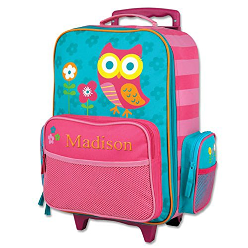 Kids Rolling Owl Embroidered Rolling Suitcase - Multiple Pockets