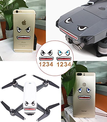 Drone Fans 2 Pcs Mavic Skin 3M Shark Stickers Face Decals Mobile Device Decal DIY Accessory for DJI Mavic 2 PRO/Mavic 2 Zoom/Mavic Pro/Mavic Air/Spark