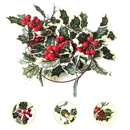 Christmas Red Berry Garland Lights,Battery Operated Artificial Foliage Greenery Berry String Lights Fireplace Decor & Home Xmas Decoration Indoor/Outdoor Decorations