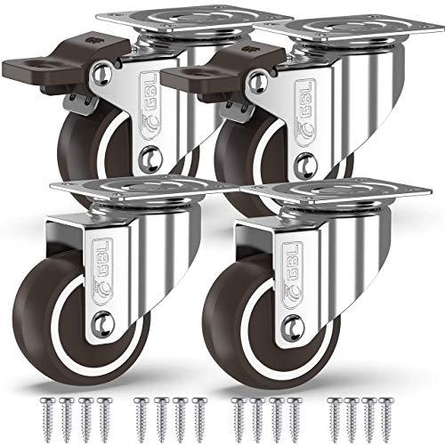 GBL - 4 Rollen für Möbel + Schrauben 50mm 200KG Transportrollen Set | Lenkrollen mit bremse | Schwerlastrollen rollen für Palettenmöbel | Möbelrollen