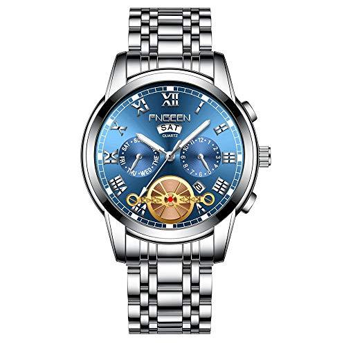 Hombres Relojes Impermeables Diseño Deportivo de Negocios Reloj de Pulsera con Correa de Cuero Reloj de Cuarzo -D