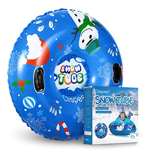 CLISPEED Snow Tube Heavy Duty Freeze-Resistant Inflatable Large Snow Sled with Handles for Sledding