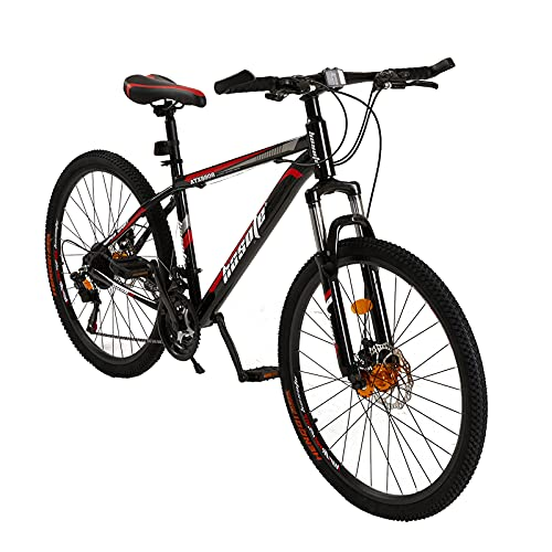26 Inch Moutain Bike for Women and Men, 21 Speed Dual Disc Brake City Moutain Bicycle for Adults and Teens, Carbon Steel Suspension Fork MTB Bikes [US in Stock]
