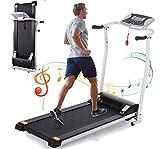 KGK Treadmill Folding Treadmill Electric Motorized Treadmill Fitness Jogging Machine Trainer Exercise Equipment for Home Gym, Smart Digital Folding Treadmill Quiet Treadmill with Large Display (White)