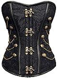 r-Dessous Vintage Corsage Schwarze Korsett Shirt Bustier Korsage Top Steampunk Corsagentop Gothic...