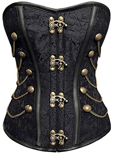 r-Dessous Vintage Corsage Schwarze Korsett Shirt Bustier Korsage Top Steampunk Corsagentop Gothic Rockabilly Groesse: L