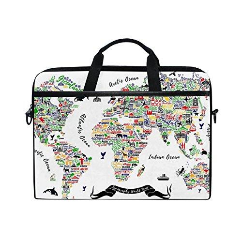 Jstel carte du monde Poster de voyage Villes et Sightseeing ATT pour ordinateur portable Sac à bandoulière Case Sleeve pour 35,6cm à 39,6cm avec bandoulière réglable pour ordinateur portable