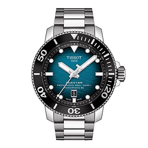 Tissot Seastar 2000 Reloj de buceo automático suizo profesional con correa de acero inoxidable, gris, 22 (Modelo: T1206071104100)