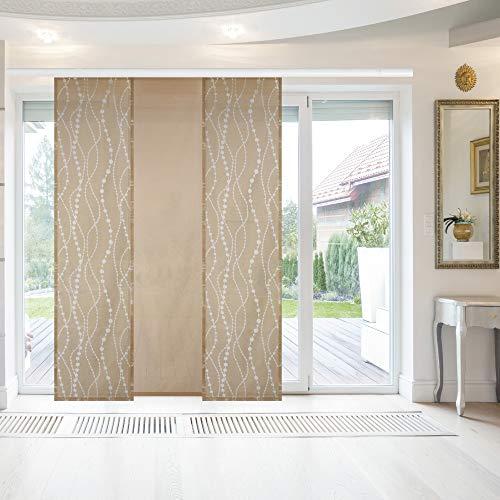 Bestlivings Elena - Panel japonés (3 unidades, 60 x 260 cm, incluye accesorios), color beige