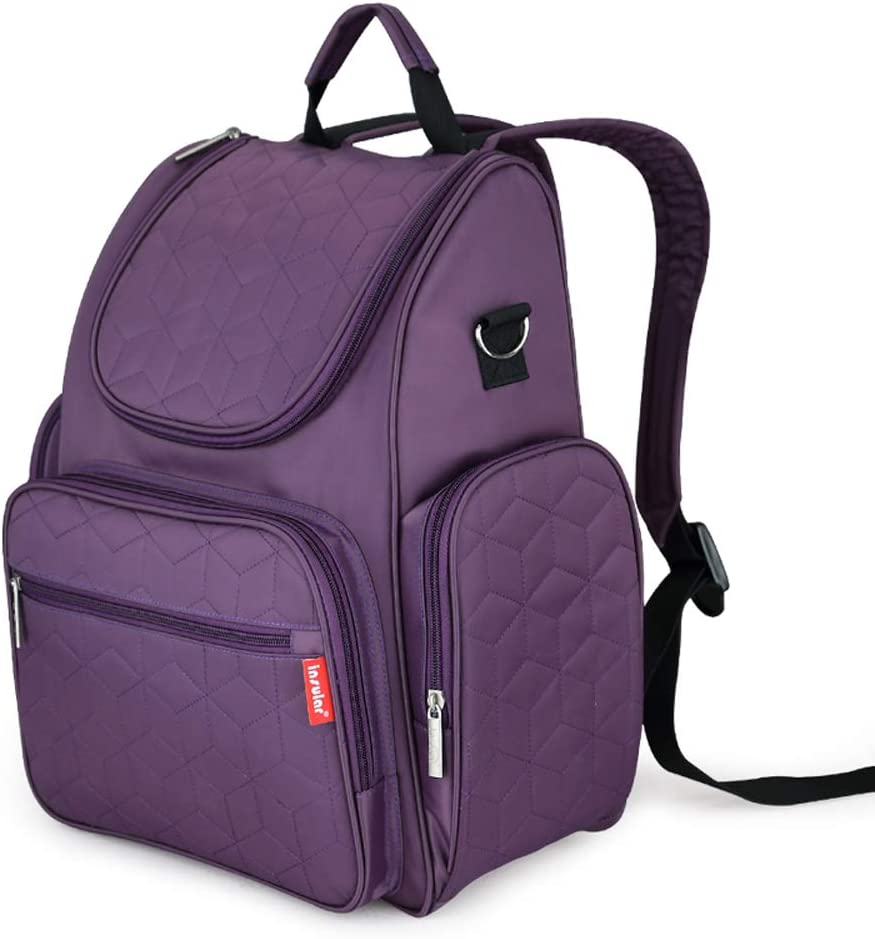 Diaper Bag Backpack, Insular Multi-Function Travel Back Pack, Waterproof Maternity Nappy Bag Changing Bag for Mom Girls, Large Capacity Baby Bag with Stroller Straps and Changing Pad, Purple