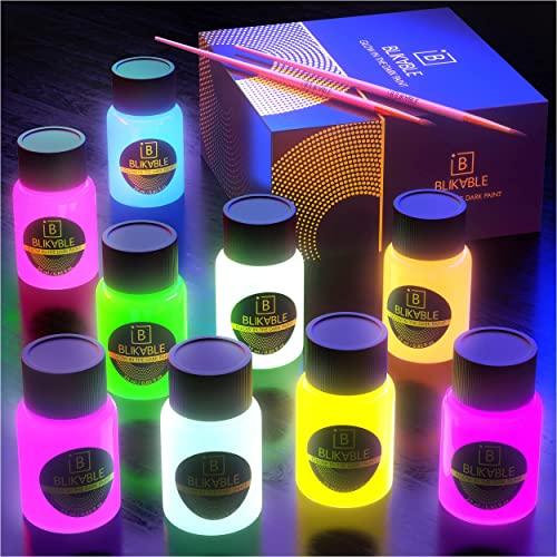 Blikable Glow in the Dark Acrylic Paint - Premium Fluorescent Colors...