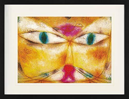 1art1 Paul Klee - Katze Und Vogel, 1928 Gerahmtes Bild Mit Edlem Passepartout | Wand-Bilder | Kunstdruck Poster Im Bilderrahmen 80 x 60 cm