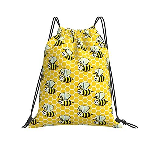 Borse Modello Senza Cuciture Di Cartone Animato Api Su Honeycombs Coulisse Zaino Sport Palestra Unisex Ragazzi Di Outdoor Yoga Palestra Nuoto Viaggi Spiaggia Sackpack Taglia Unica