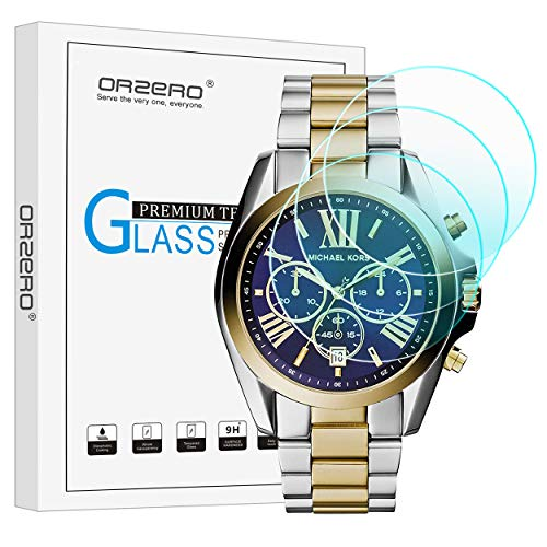 (3 Pack) Orzero Compatible for Michael Kors Bradshaw 2 Smartwatch Tempered Glass Screen Protector, 2.5D Arc Edges 9 Hardness HD Anti-Scratch Bubble-Free (Lifetime Replacement)