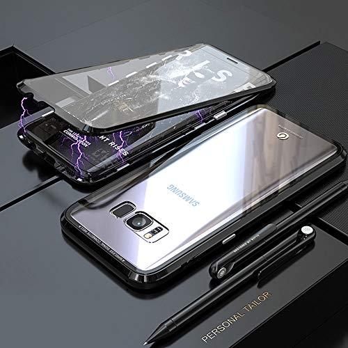 Cover Samsung Galaxy S8 Plus,Magnetica Custodia[Cornice Metallica][Doppio Vetro Temperato] Adsorbimento Magnetico 360 Gradi Full Body Trasparente Vetro Temperato,per Galaxy S8 Plus Cassa - Nero