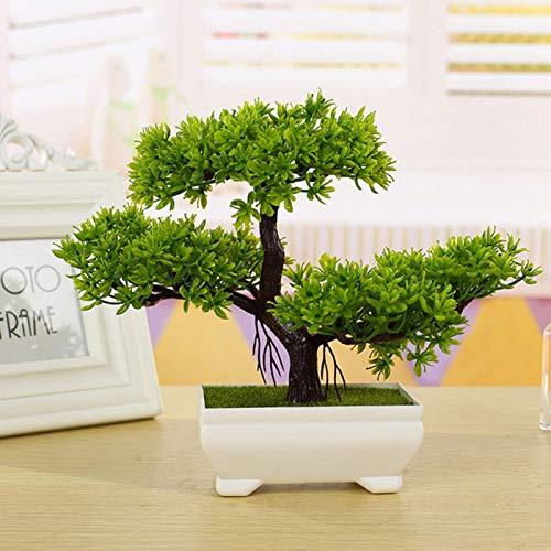 Bonsai artificiale di pino per gli ospiti, in finto vaso, decorazione decorativa per vasi di alberi artificiali, fiori artificiali finti verdi, decorazione per casa, ufficio, cortile