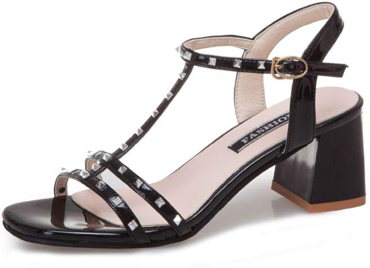 Unanshengenefi Rivet Sandals Female 2019 Summer New Korean Version of The Wild Word Buckle T-Type Straps with The Square Head high-Heeled shoes Tide