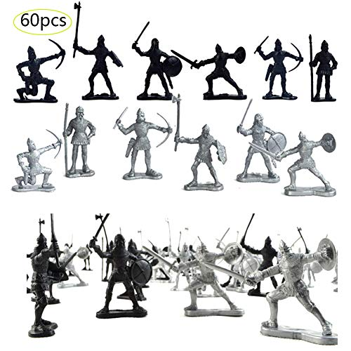Odowalker 60 Pieces Ancient Soldier Figures Toy Middle Ages Army Infantry Archer Warriors Sword and Shield Swordman Archaic Soldiers Medieval Soldiers Model Military Figures Toy Sliver Black for Kids