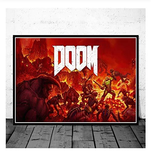 nr Videospiele Das ultimative Doom-Spiel Leinwand Malerei Plakate und Drucke Bilder an der Wand Vintage Dekoration Wohnkultur -50x70cm Kein Rahmen