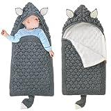 Kinderwagen Decke Neugeborene Wickeldecke Schlafsack Wolle Kinderwagendecke Winter Dick Schlafsäcke für 0-6 Monate Jungen Mädchen Grau