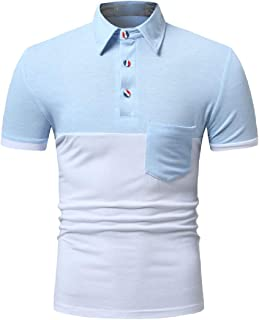 Vska Men Stitch Short-Sleeve Polo Shirt Turn Down Collar Contrast Color Tees