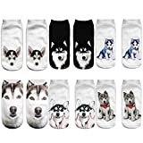 Angelteers Unisex's Funny 3D Husky Dog Ankle Socks Cute Low Cut Socks for Summer (Siberian Husky Dog)