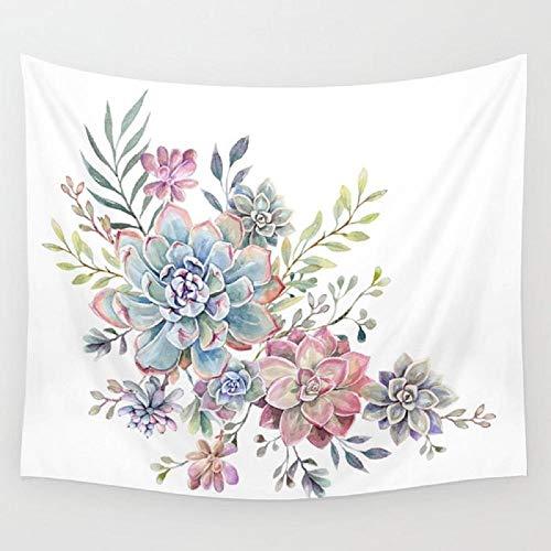 Tapiz de acuarela suculento planta colgante de pared alfombra de habitación colcha de playa tapices arte accesorios para el hogar 150x180cm