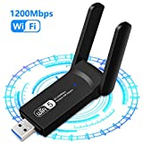 USB WiFi Adapter 1200Mbps Wireless Internet Adapter USB 3.0 WiFi Dongle for PC 802.11AC with 3dBi High Gain Antenna Support Linux Mac OS 10.15 Windows 10/8.1/8/7/ XP System, Easy to Use