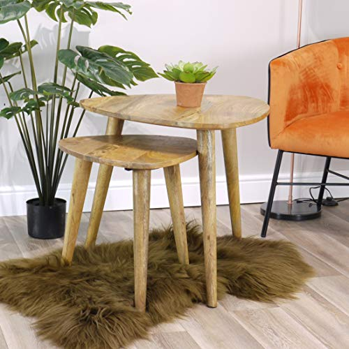 Aztec Solid Mango Wood Nest of Tables | 2 Nesting Tables with Curved Edges