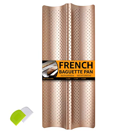 COSYLAND Perforated Baguette Pan for French Bread Baking - 2 wave Loaf, Nonstick Bake Mold - Dough Scraper + Cooking bakers' tools for Professional & Home Bakers (Gold)