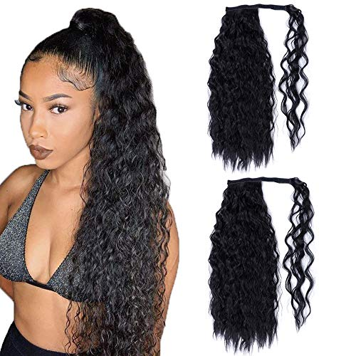 2 pièces 24 pouces de long noir bouclé titulaire de queue de cheval Extension de cheveux Wrap Around Extensions de queue de cheval Clip synthétique pour les femmes
