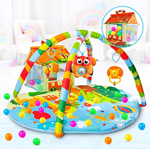 VATOS Baby Play Mat and Infant Activity Gym Ball Pit Kick and Play Perfect Sense Deluxe Gym, Zoo Plush Infant Play Mat with Toys Animals for toddlers Aged 0 to 3 6 9 12 Months Old Babies Einstein Pads